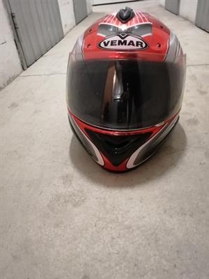 Casco moto rosso
